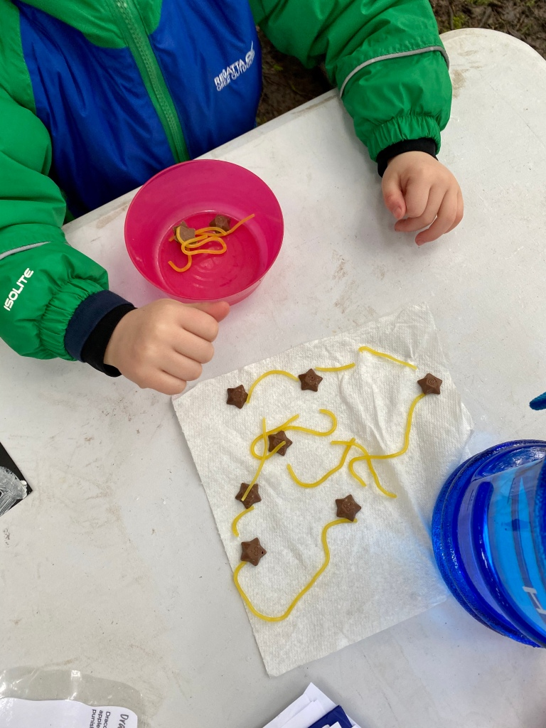 A chocolate constellation using chocolate stars and sugar laces at one of our outdoor STEM classes