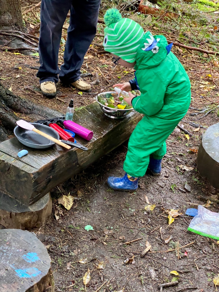 Playing in the mud kitchen at weeSTEMs - learning through play