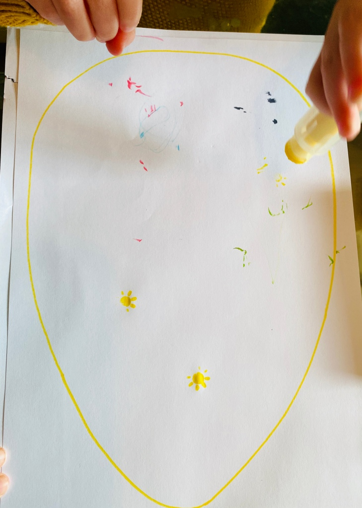 Easter-themed mark-making practise for toddlers